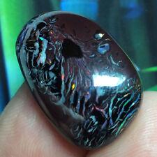 31ct Solid Australian Boulder Opal DARK Koroit TRIPPY Gemstone Cabochon ~VIDEO~