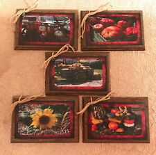 5 Wooden Handcrafted FALL Ornaments/THANKSGIVING Hang Tags - Handcrafted - SETj