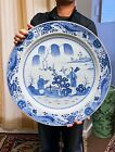 Very Large Antique Chinese Blue and White Porcelain Charger Plate - 1700's
