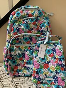 VERA BRADLEY Essential Large Backpack Far Out Floral + Lunch Bag School Set NWT