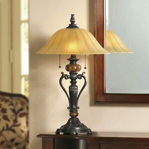 """Table Lamp Art Deco White-Ivory Glass Shade Bronze Finish Marble Accents 26"""""""