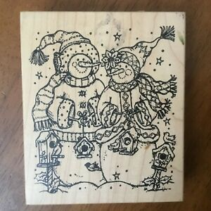 Northwoods Snow Couple People Family Winter Christmas Mounted Rubber Stamp