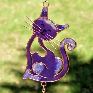Cat Suncatcher purple glass Windchime mobile hanging home garden window gift