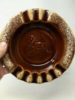 Vintage Hull USA Pottery Brown Drip Glaze Deer Figure Ashtray Mid Century MCM