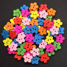 200 WOODEN FLOWER BUTTONS - MIXED COLOURS - CRAFT - SCRAPBOOK - SEW - CARDMAKING