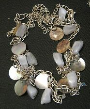 metal with shell & stones white Lovely Costume Jewellery Necklace in silver tone