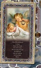 """Child + Angel+ """"Now I lay me down to Sleep"""" Prayer Gold Foil Plaque (5"""" x 9"""")"""