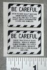 2 BE CAREFUL Dress-Up Decals for Pedal Tractors or Implements Adhesive-backed