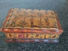 Vintage wood and leather box possibly from Spain