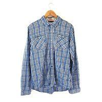 Tommy Hilfiger Denim Men's Checked Shirt Blue Plaid Western Casual Cotton XL