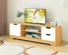 120cm Pine/White TV Stand Entertainment Unit Cabinet Storage with Drawers