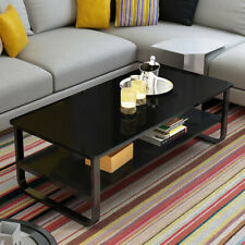 Industrial Accent Coffee Table with Storage Shelf Living Room Wood Rustic BLACK