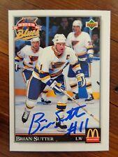 "St. Louis Blues BRIAN SUTTER Signed 1992 Upper Deck ""McDonald's"" Card F"