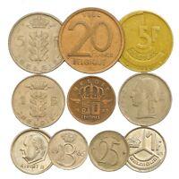 10 BELGIUM COINS FRANCS CENTIMES BELGIAN OLD COLLECTIBLE COINS SET
