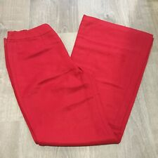 Pour Toujours Womens Pants Sz 10 Red Classic Linen Silk Career Occasion QA7