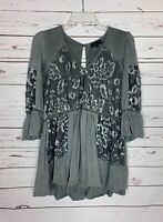 POL Anthropologie Women's S Small Gray Lace 3/4 Ruffle Sleeves Tunic Top Shirt