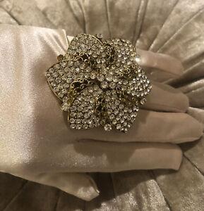 Extra Large Gold Tone Rhinestone Flower Cocktail Ring Statement Bling Ring (1i)