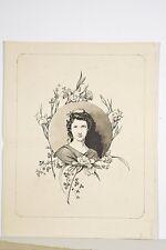 Dessin original encre déb XX Portrait Jeune Femme encadrement oeillets J. MASSON