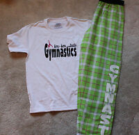 "Gymnastic ""GYMNAST"" Lime green flannel pants with white t-shirt"