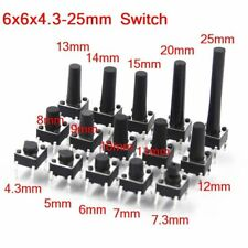 Push Button Switch Panel PCB Momentary Tactile Mini DIP 4Pin 6x6mm 4.3mm to 25mm