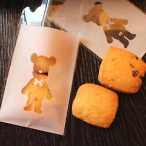 100pcs Bear Candy Cookies Biscuit Baking Packaging Bag Self-adhesive WeddiSEAU