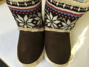 Coolers Womens Boot Slippers In 3 Colours Thick fleece collar Side Opening New