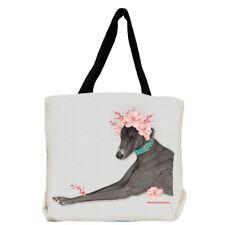 Greyhound Black Greyhound Dog with Flowers Tote Bag