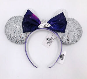 Space Mountain Ears Shanghai Silver 2021 Disney Parks Minnie Mouse Purple