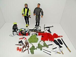 Action Man x 2 1990s Hasbro Job lot accessories weapons helmets clothes