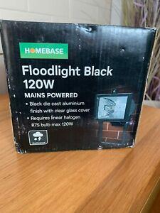 Homebase - Black Floodlight 120W - Mains Powered - NEW