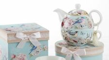 Delton Porcelain Tea for One Gift Set  Stacked Teapot & Cup  BLUE BIRD