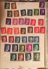 37 Germany Deutsche 1941 1943 Reich-Hitler's Head Stamps WWII Mint & Cancelled