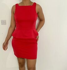 Primark red/orange peplum dress - Size 16