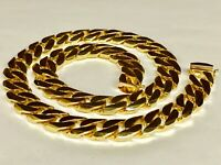 """10kt Solid Yellow Gold Handmade Curb Link Mens Necklace 32"""" 370 Grams 15.5MM"""