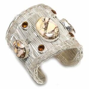 Brecciated Mookaite, Citrine Gemstone 925 Silver Cuff Bracelet Adjustable