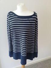 Crew Clothing Ladies Top Jumper 100% Cotton Blue white stripes Size 16 Womens