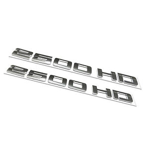 2PC 2500HD Emblem Chevy Silverado Sierra Front Door Chrome Letter Badge Logo OEM