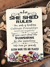 She Shed Sign - Garden Sign - She Shed Rules - Home Decor - 8x12 Metal Sign