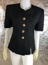 Women's Vintage 1990's Black Short Sleeve Blazer Jacket w/ Gold Buttons, Size S