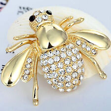 New Beautiful 9K Yellow Gold Filled Bee Pin Brooch w/CubicZirconia Accents