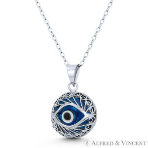 Evil Eye Glass Bead Charm Turkish Nazar Greek Pendant Sterling Silver Necklace