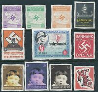 Lot Artist Stamp Replica Label Denmark Norway WWII Holland DNSAP Hitler MNH