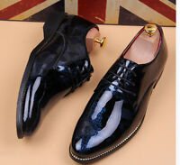 Mens Casual Brogue Patent Leather Lace Up oxfords Business Formal Dress Shoes