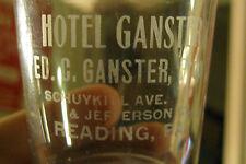 (RARE) HOTEL GANSTER PRE-PRO WHISKEY BITTERS LIQUOR SHOT GLASS READING PA
