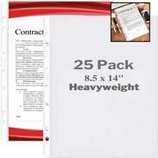 Dunwell Legal Size Sheet Protector Heavyweight 25 Pack 85x14 Paper Sleeves 7 Ho