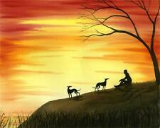MAN DOGS WALKING BY LAKE 6749 GREYHOUND WHIPPET LURCHER DIANNE HEAP SUNSET SEA