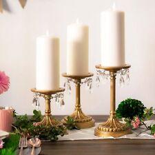 Amalfi Decor Vintage 3-Piece Pillar Candle Holder Set Metal Crystal Home Accent