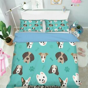 3D Dog Footprint Bone Quilt Cover Duvet Cover Comforter Cover Pillow Case 106