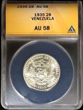 1935 SILVER VENEZUELA 2 BOLIVARES SIMON BOLIVAR COIN ANACS ABOUT UNC 58