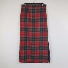 Rafaella Women's Size 10 100% Wool Red Plaid Skirt Lined Below Knee